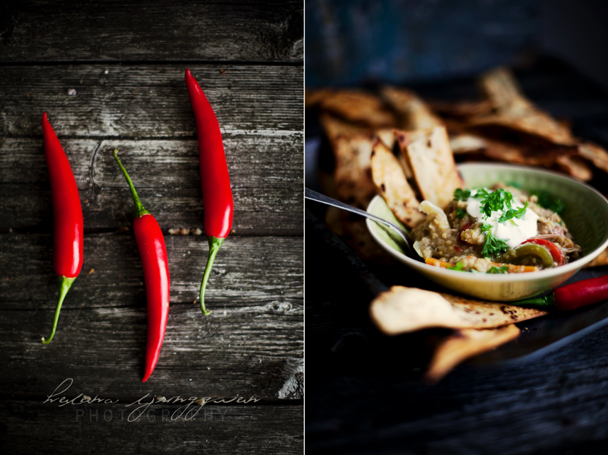 linsgryta, nachos och chili
